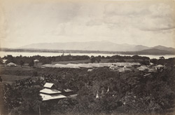 Moulmein. Cantonment and Native Infantry Barracks, with Martaban and Zingyike Hills in the background